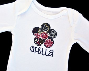 Personalized Applique Flower Baby Bodysuit