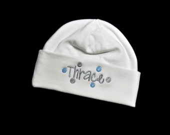 Baby Beanie Hat Personalized with Any Name and Polka Dots