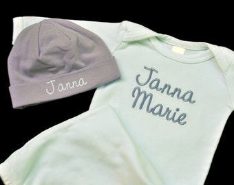 Personalized Newborn Baby Gown and Beanie Hat Combo /  Several color options