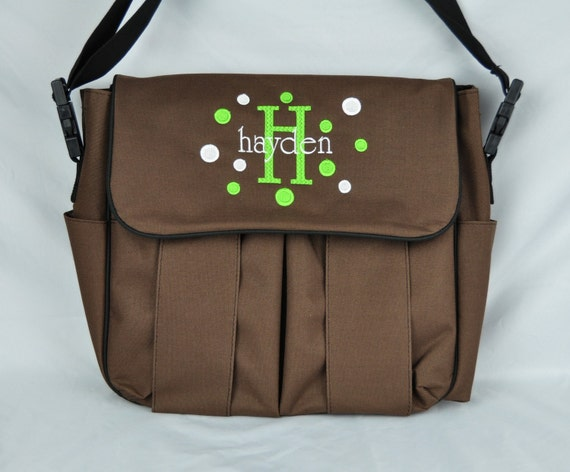 Personalized Messenger Style Diaper Bag / Available in Black or Brown