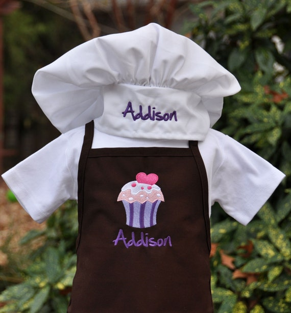 kids apron set apron and chef hat personalized childs. Black Bedroom Furniture Sets. Home Design Ideas