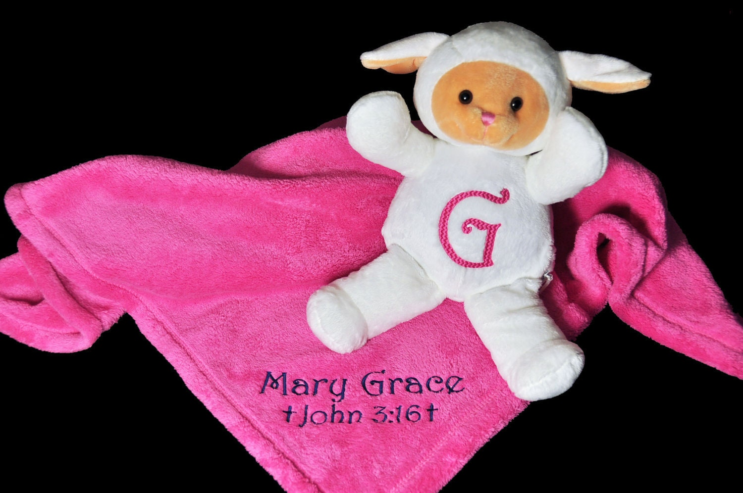 Personalized Plush Animal And Baby Blanket Combo