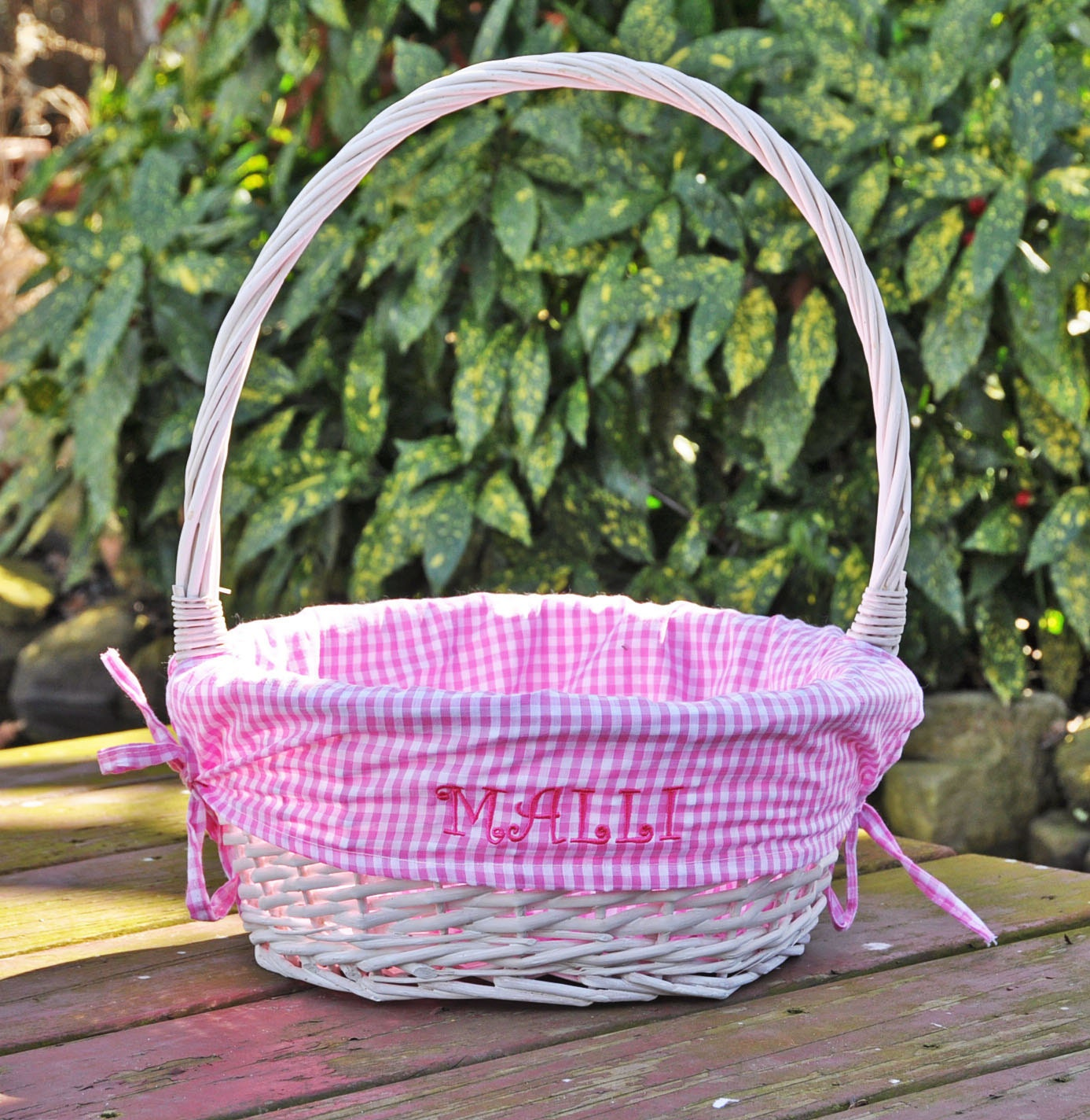 Personalized Girls Easter Basket Pink White Gingham