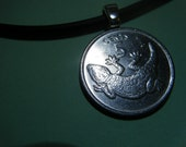 Gecko Lizard Silvertoned Coin Pendant with Rubber Sterling Silver Necklace