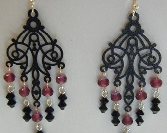 Black and Fuchsia Victorian Stamping Earrings