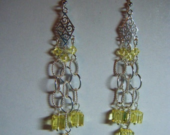Sterling Silver and Canary Yellow Swarovski Crystal Dangle Earrings