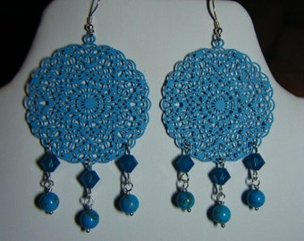 Turquoise Blue Brass Stamping Dangle Drop Earrings