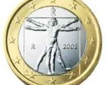 Leonardo Da Vinci Vitruvian Man Uncirculated 1 Euro Italian Coin Necklace