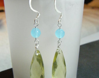 Lemon Yellow Faceted Quartz and Sea Foam Blue Dangle Earrings