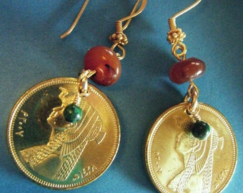 Egyptian Brass Cleopatra Golden Coin Lapis Azurite and Carnelian Beaded Dangle Earrings