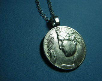 Vintage Italian Liberty Profile Nickel Silver Coin Necklace with Sterling Silver Chain and with Choice of Free Charm