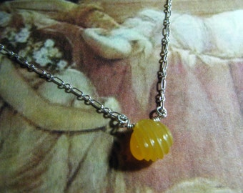 Carved Shell Honey Yellow Chalcedony Quartz Solitaire Sterling Silver Pendant Necklace