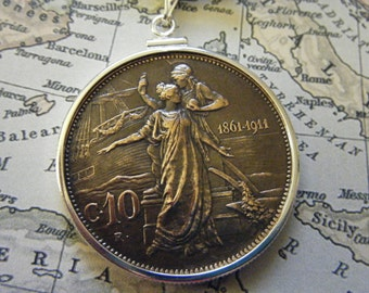 Sterling Silver Toggle Necklace with Vintage Italian Neo-Roman 10 Centesimi Coin Dated 1911
