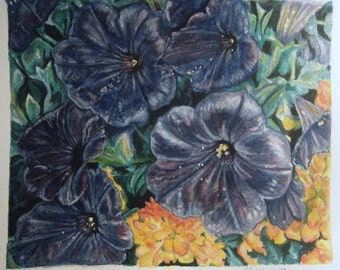 Original Watercolor and Gouache of Petunias and Marigolds 8 x 10