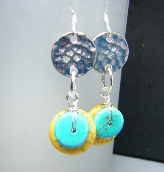 Turquoise and Hammered Pewter Disc Earrings