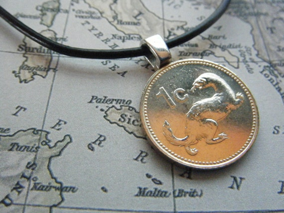Ferret Brass Coin Malta Maltese 1 Cent Pendant with Rubber Sterling Silver Necklace