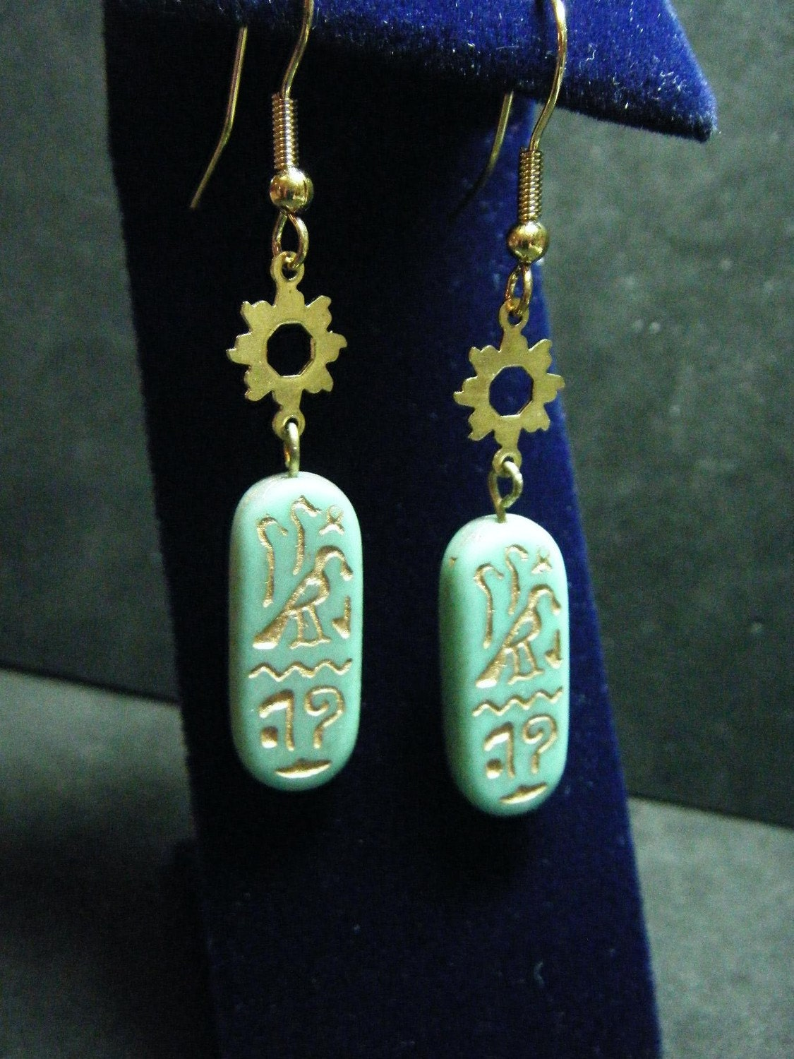 Mint turquoise faience egyptian style cartouche bead earrings for Faience turquoise