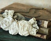 cream blooms and eyelet lace, handmade embellished necklace RESERVED for amyhodgepodge