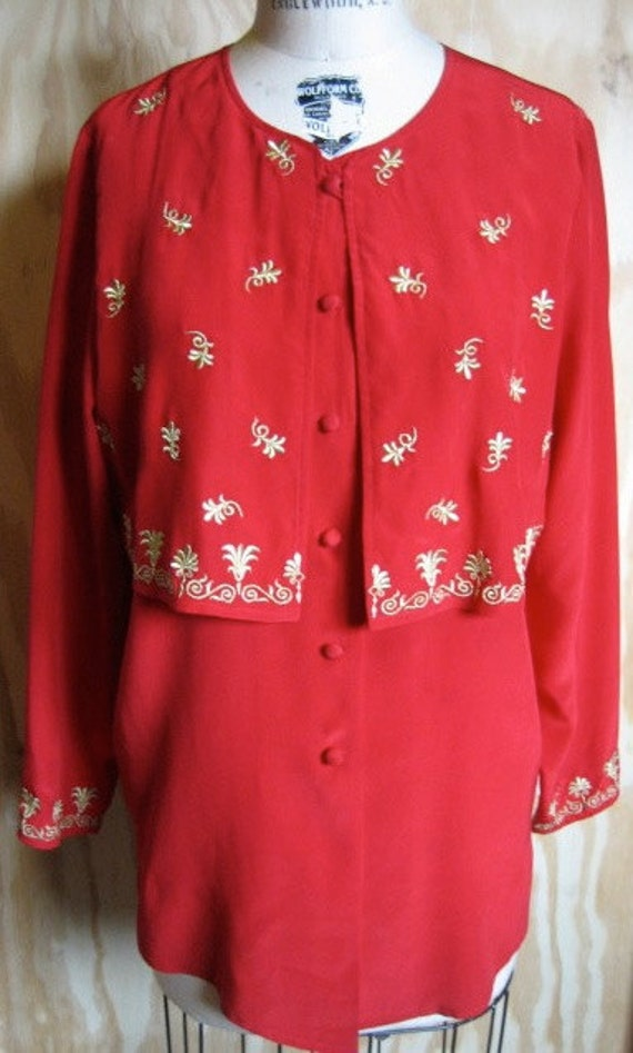 1980's red silk Diane Von Furstenberg blouse size extra small