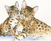 BENGAL CAT Original Watercolor on Ink Print 11x14 Matted Ready to Frame