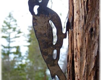 WOODPECKER Lifesize CNC Metal Tree Garden Art Made in Oregon USA