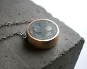 Aquamarine and Concrete Pendant
