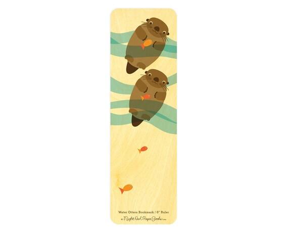6 inch Birch Wood Ruler - Bookmark - Water Otters - WM126