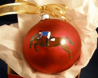 Hunter Jumper Horse Hand Painted Christmas Ornament - Can Be Personalized with Name