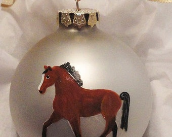 Thoroughbred Horse Hand Painted Christmas Ornament - Can Be Personalized with Name