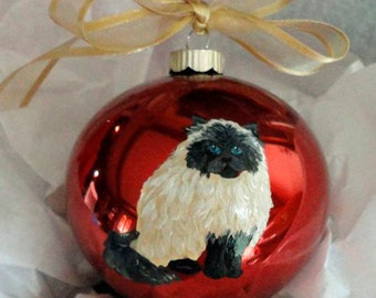 Himalayan Cat Hand Painted Christmas Ornament - Can Be Personalized with Name
