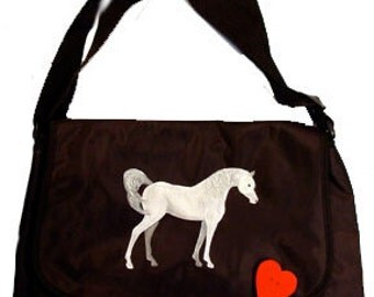 Arab Horse Hand Painted Messenger Bag Can Be Personalized with Name