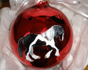 Gypsy Cob Vanner Horse Hand Painted Christmas Ornament - Can Be Personalized with Name