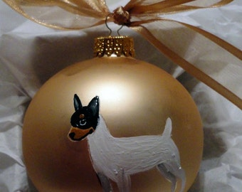 Toy Fox Terrier Dog Hand Painted Christmas Ornament - Can Be Personalized with Name