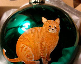 Orange Tabby Cat Hand Painted Christmas Ornament - Can Be Personalized with Name