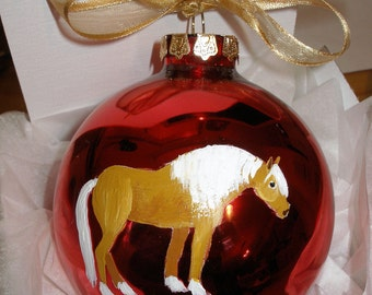 Haflinger Pony Horse Hand Painted Christmas Ornament - Can Be Personalized with Name