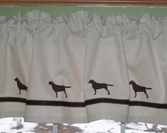 Chocolate Labrador Retriever Window Valance Curtain Natural Denim