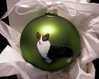 Cardigan Corgi Hand Painted Christmas Ornament - Can Be Personalized with Name