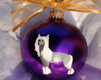 Chinese Crested Dog Hand Painted Christmas Ornament - Can Be Personalized with Name