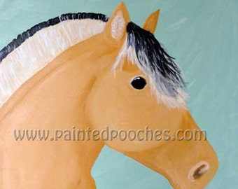 Norwegian Fjord Horse Original Art Print by Painted Pooches