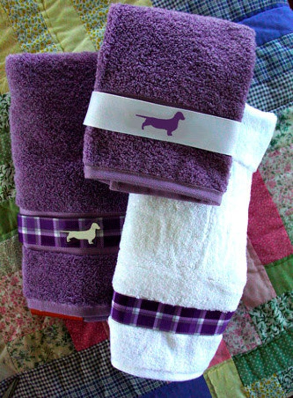 Items Similar To Dachshund Doxie Dog Bath Towel Purple