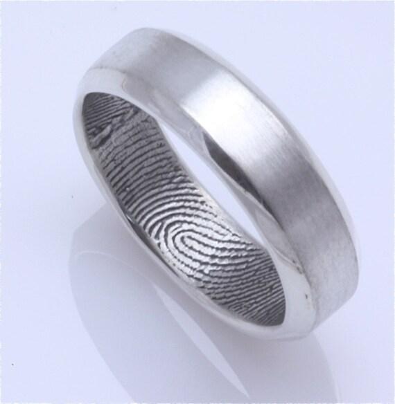 bevelled edge custom fingerprint wedding band in by fabuluster