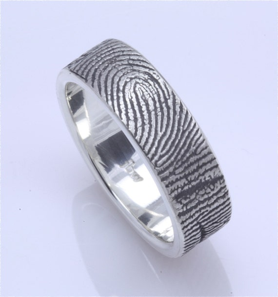 Custom fingerprint wedding band with fingerprint wrapped on EXTERIOR blackened