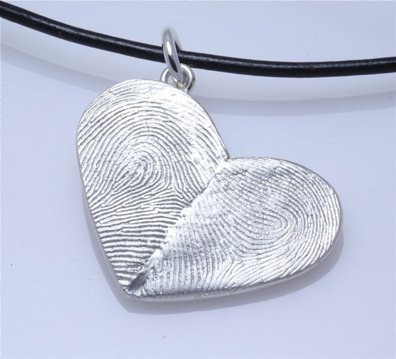 Sterling Silver Custom Double Thumbprints Pendant or Charm Heart shaped