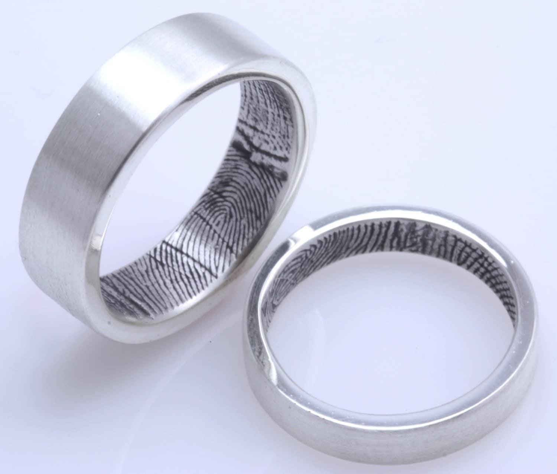 custom fingerprint wedding bands in sterling silver set of. Black Bedroom Furniture Sets. Home Design Ideas