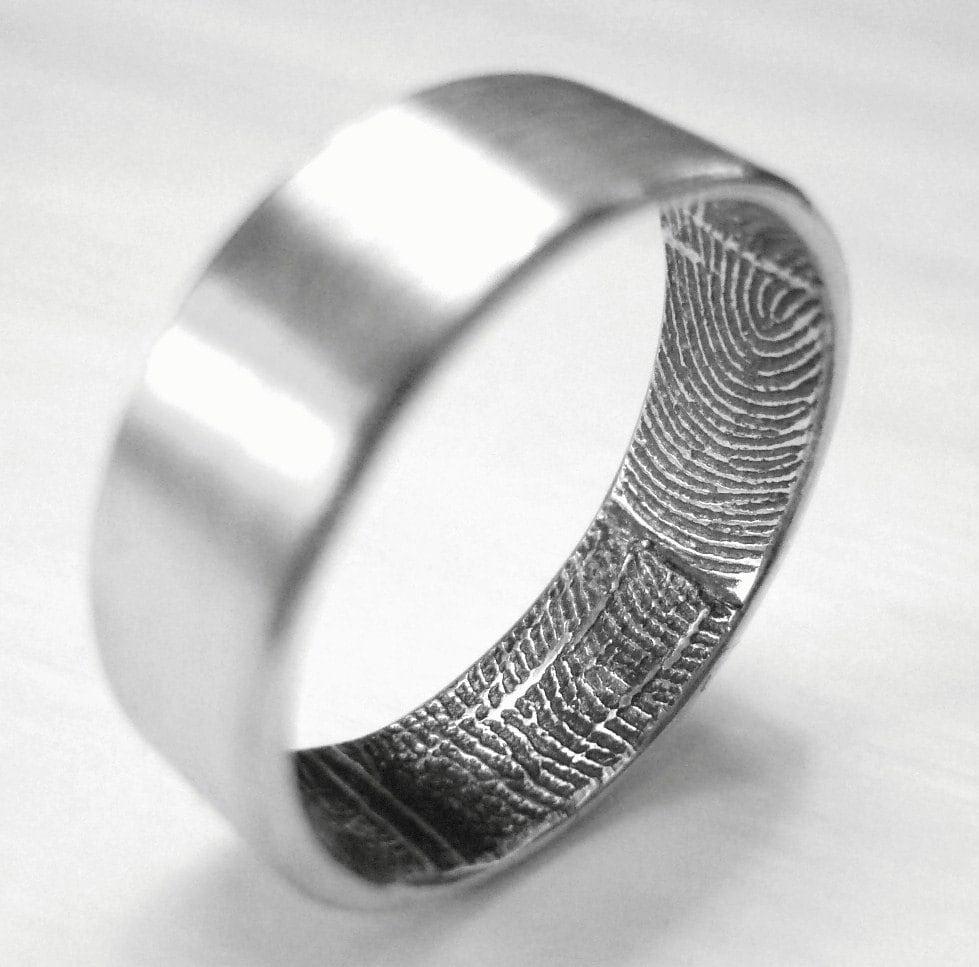 custom fingerprint wedding band ring. Black Bedroom Furniture Sets. Home Design Ideas