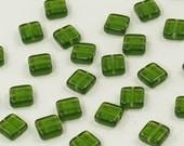 Dark Olivine Flat Square Czech Glass Tile Beads 9mm - 25