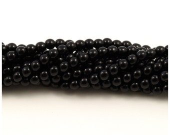 Czech Glass Jet Black Round Druk Beads 6mm - 50
