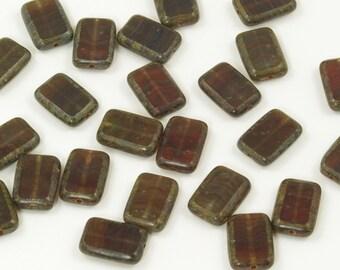 Czech Glass Hurricane Rectangle Window Beads Rustic Brown 8x12mm - 12