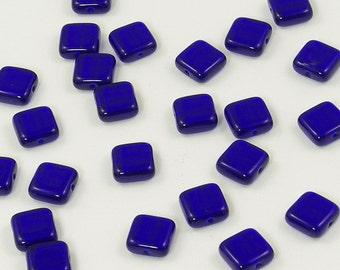 Czech Glass Square Tile Beads Cobalt Blue 9mm - 25