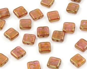 Rose Gold Topaz Luster Czech Glass Square Tile Beads 9mm - 25